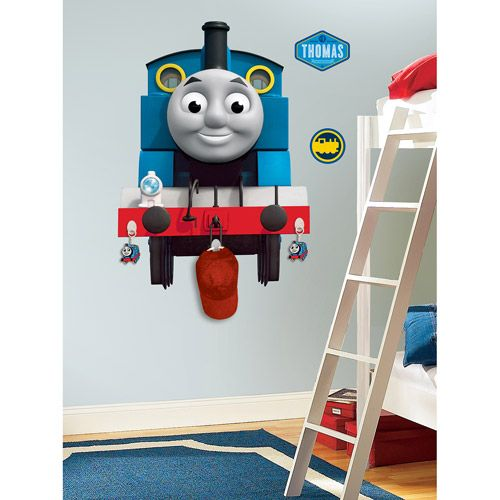 RoomMates Thomas the Tank Engine Peel & Stick Giant Wall Decal with Hooks