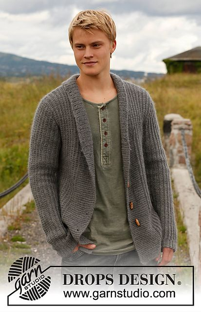 """Ravelry: 135-20 """"Lewis"""" - Jacket for men with wide front bands and shawl collar in """"Karisma Superwash"""" and """"Kid-Silk"""" pattern by DROPS desig..."""