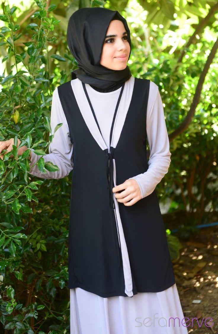 Yazlık Elbise Siyah Gri