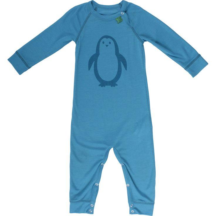 Freds World heldragt i uld (Blå). Lækker økologisk uld heldragt fra Freds World. Blå med pingvin på maven. Trykknapper på den ene skulder og mellem benene.
