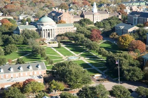 SMU - Southern Methodist University Mustangs. Aerial view of main boulevard on SMU campus.