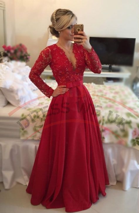 Red Long Sleeves Prom Dresses,V Neck Prom Dresses,Lace Pearls Floor Length Prom Dresses,A-line Stunning Evening Gowns