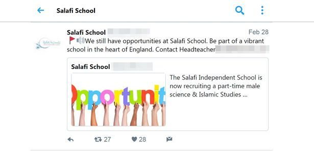 teacher after equalities row Salafi Independent School criticised after posting Twitter ad for science & Islamic Studies teacher