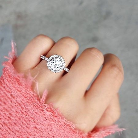 Halo Circle Engagement Ring Rings In 2018 Pinterest Engagement