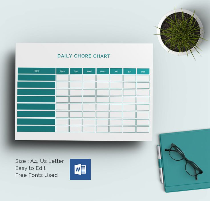 Daily Chore Chart MS Word Template