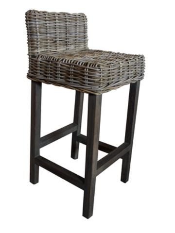 """Rattan stool at bar height. Seat height: 31"""" Shipping arranged separately with designer. For more information, please email below."""