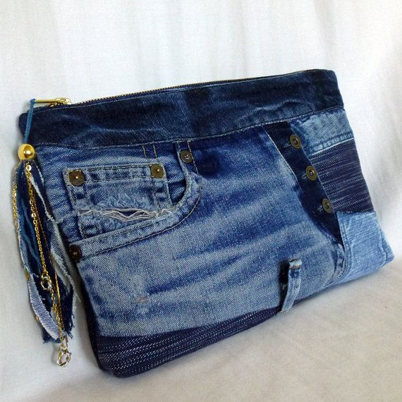 Recycling von alten Jeans & Hand-dyed Indigo Kupplung Stoffbeutel