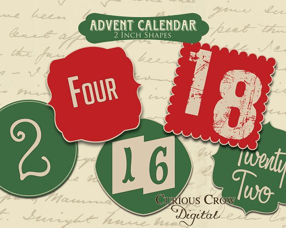 Christmas Advent Calendar Digital Collage Sheets  INSTANT Printable Download- Two Sheets of Hang Tags on Etsy, $3.50