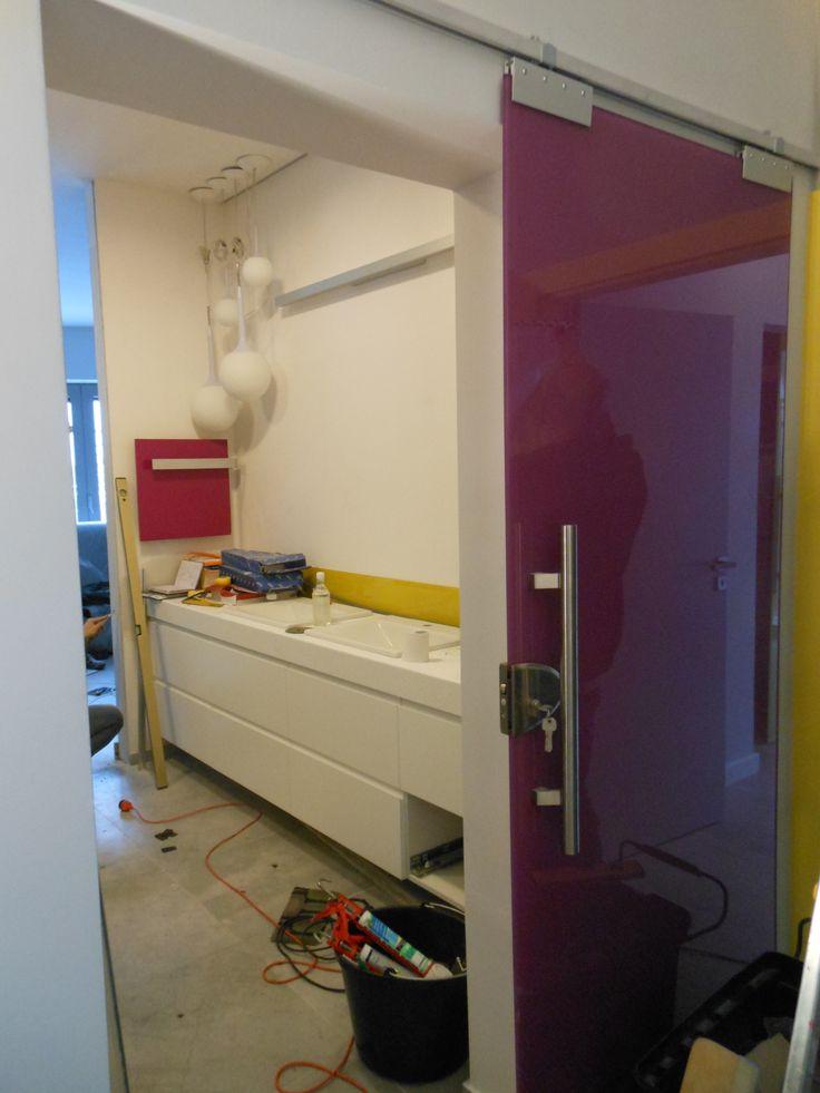 szklane przesówane  drzwi na prowadnicy www.atoato.pl