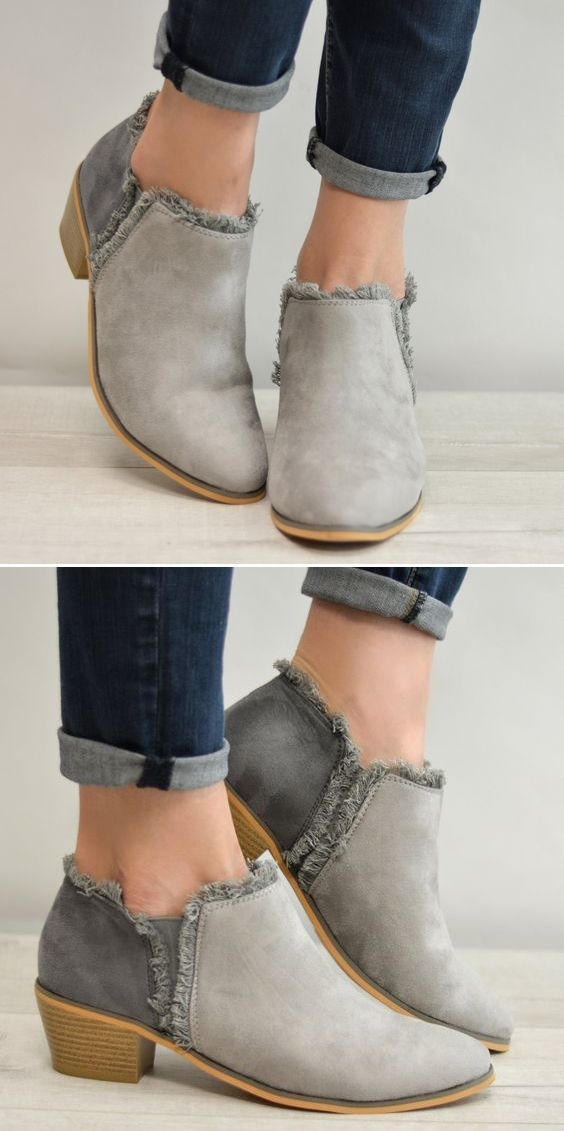 Grey Booties 24.99!!! These are ADORABLE!! #fashion #booties #clothing #OOTD