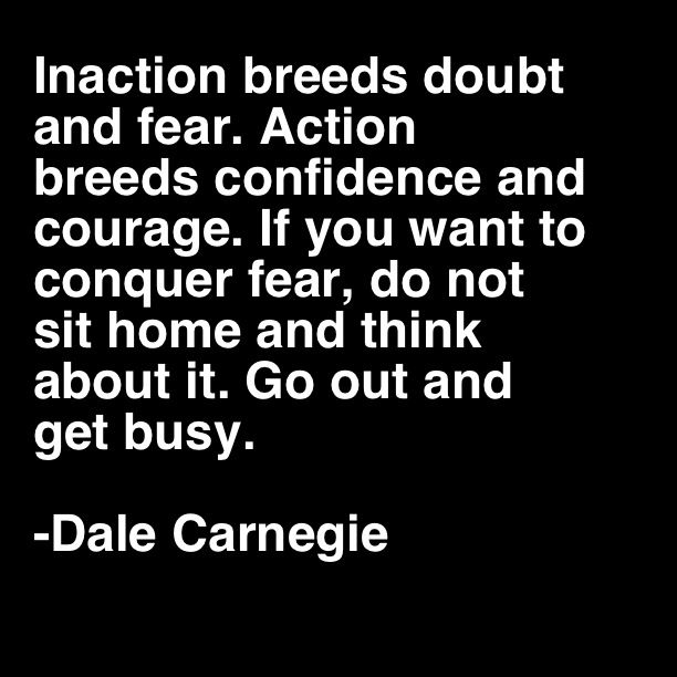 Inaction breeds doubt and fear. Action breeds confidence and courage. If you want to conquer fear, do not sit home and think about it. Go out and get busy. ~Dale Carnegie