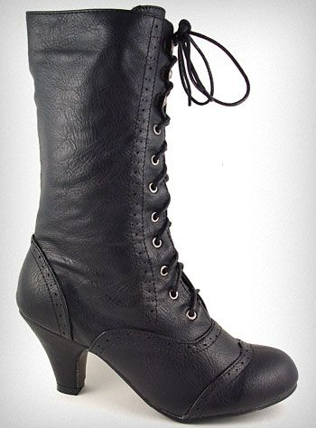 coal Mill victorian boots, I love the small heel and rounded tips.