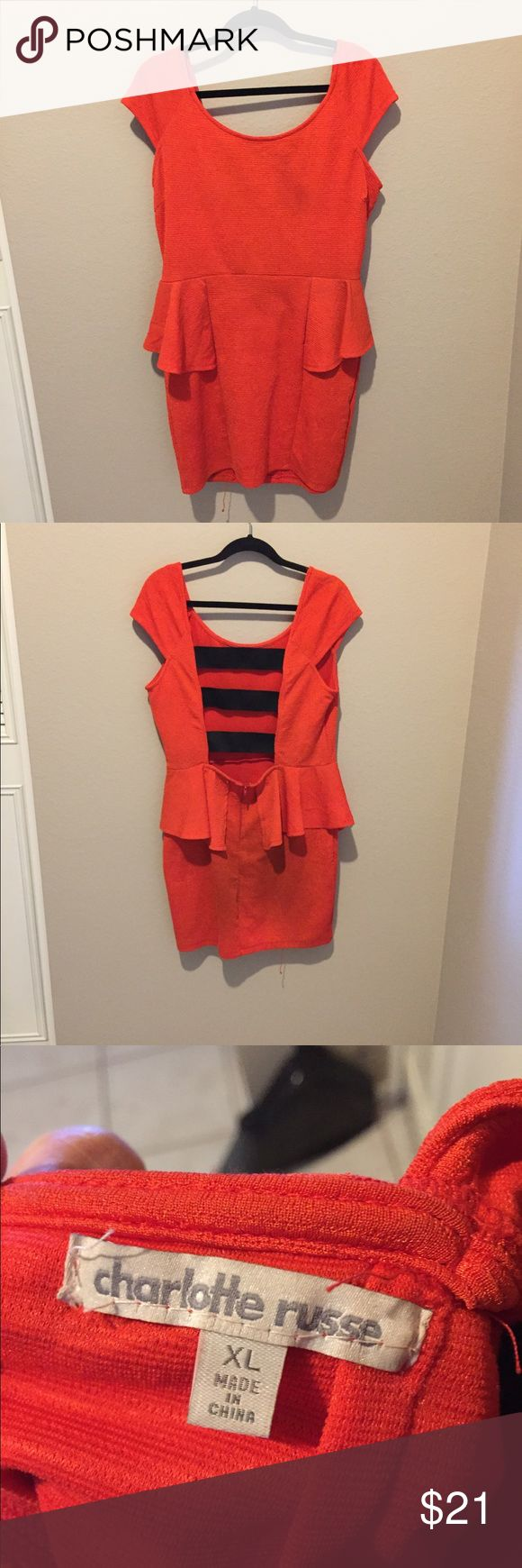 Red peplum dress Super cute, comfortable and perfect for a fun night out! This dress is very stretchy and true to size, also has a nice slightly longer length. Dress is peplum style with cute open back band details in the back. Charlotte Russe Dresses Mini