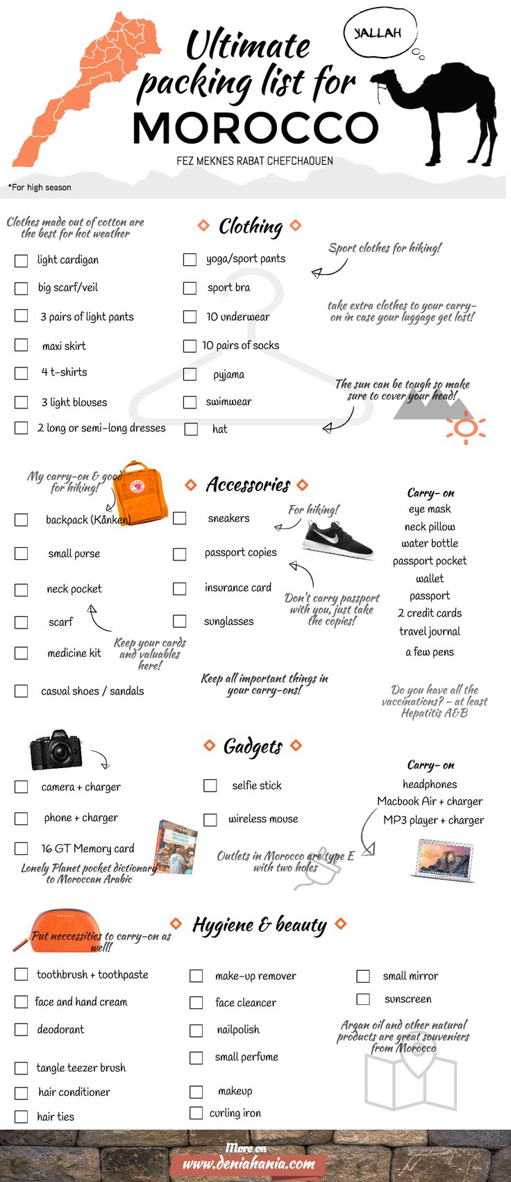 Ultimate packing list for Morocco - Fez, Meknes, Chefchaouen, Rabat   RePinned by : www.powercouplelife.com
