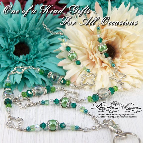Rhinestone Clover Green Pearls Beaded Badge Lanyard Necklace Security Card ID Holder Great for Teachers, Coworkers, Nurses, Professionals