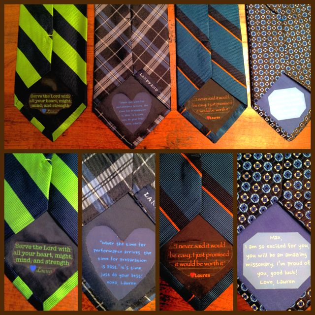 Missionary tie messages! Made myself!
