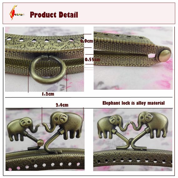 new  embossing  8inch sew metal purse frame  elephant kiss lock on Etsy, $6.50