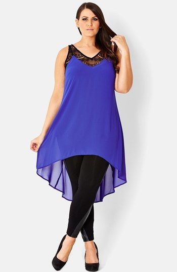 City Chic Lace Trim High/Low Tunic (Plus Size) | Nordstrom