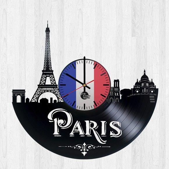 Paris France Handmade Vinyl Record Wall Clock - VINYL CLOCKS