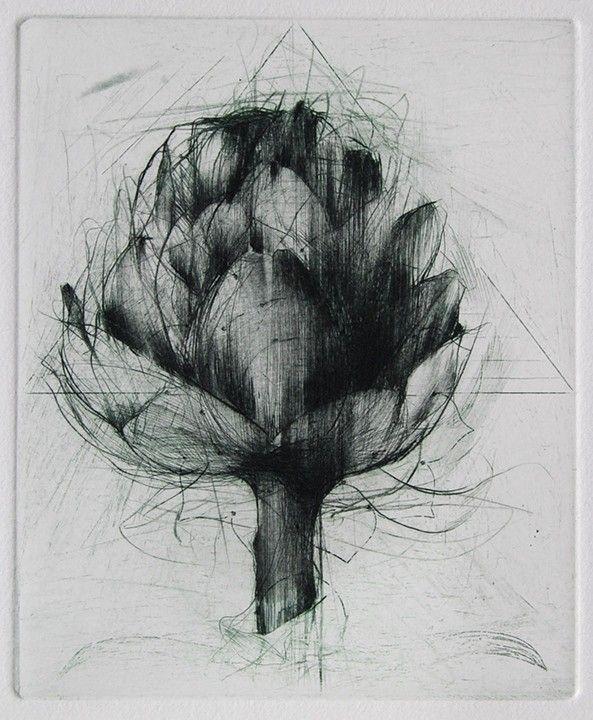 Jake Muirhead, 'Artichoke' etching and drypoint
