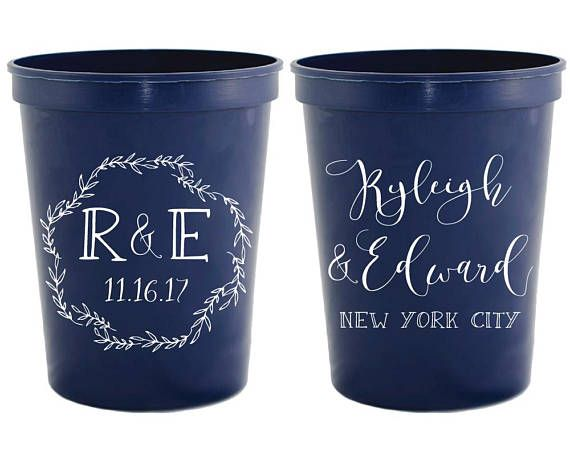 Personalized Cups Wedding Favor Cups Wedding Cups Monogram Wedding Cups Custom Plastic Cups Custom Cups Stadium Cups Party Cups 1873 by SipHipHooray