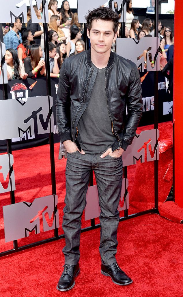 The Teen Wolf star kept things simple with a dark ensemble.
