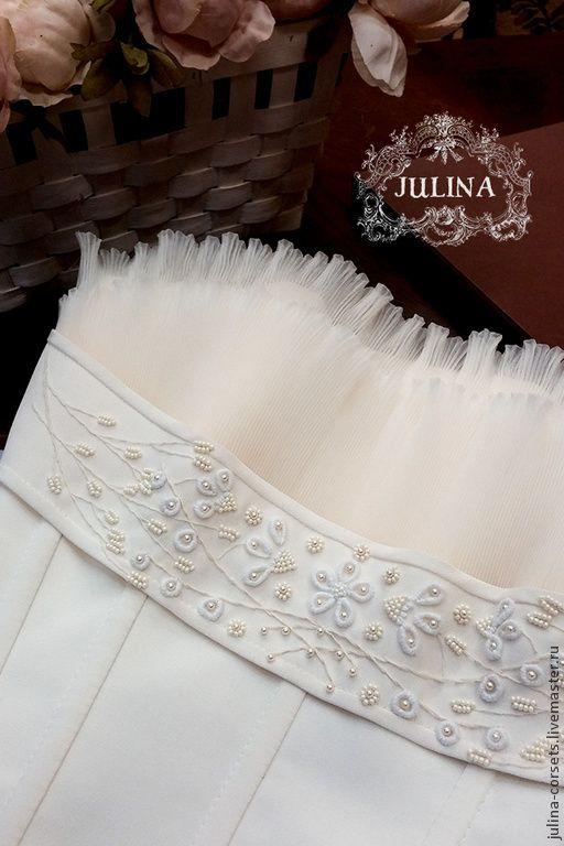 """Купить Корсет шелковый """"Амели"""". Ручная вышивка - белый, корсет, невеста, свадебный корсет"""
