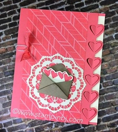 Flirty Sealed with Love, Love Note Framelits, Lace Doilies, Envelope paper Stampin' Up!, BJ Peters