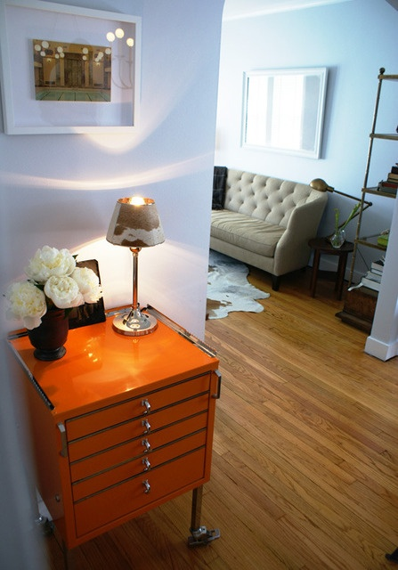 Who knew a vintage orange dental cabinet could look so chic?