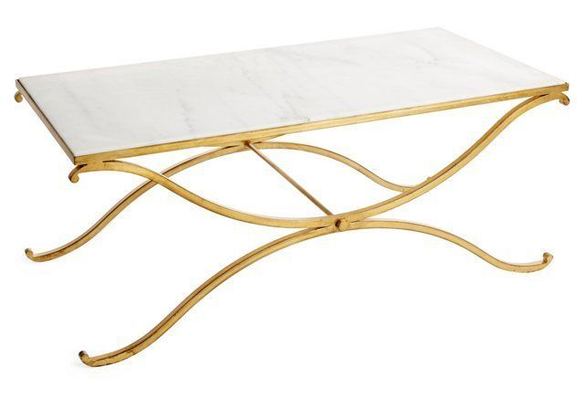 Olivia Marble Coffee Table, Gold