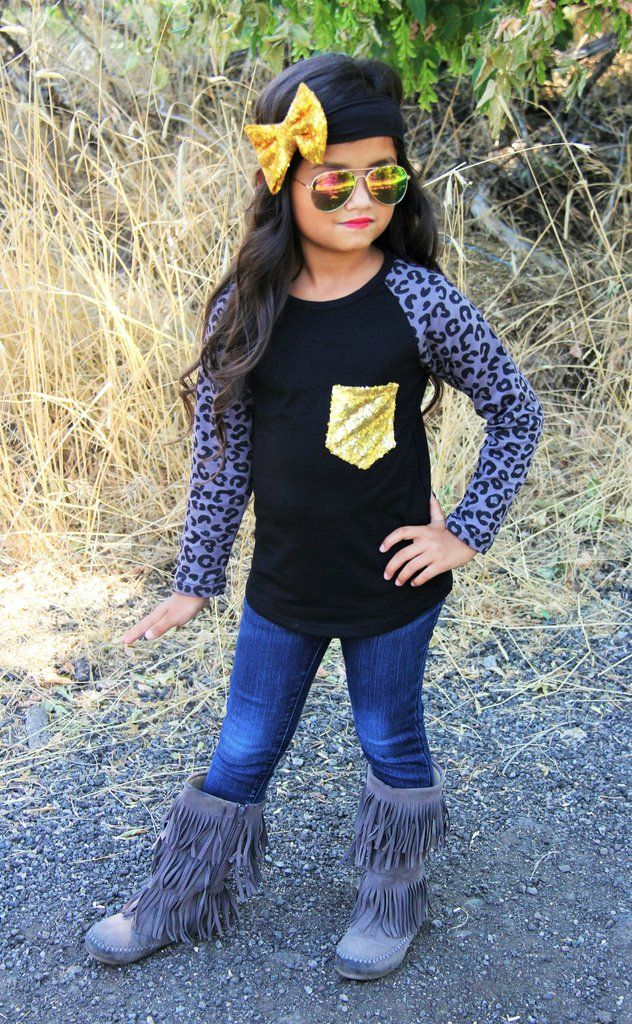 Gray Leopard Long Sleeve Shirt with Gold Sequin Pocket #boutique-outfits #new #newborn-sets #perfect-sets