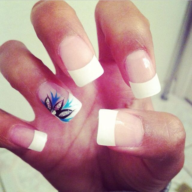 These nails were from my senior prom last year. It's a super cute, simple · Acrylic  Nail TipsCute Acrylic NailsFrench ... - 34 Best Nails Images On Pinterest Hair Dos, Nail Art Designs And
