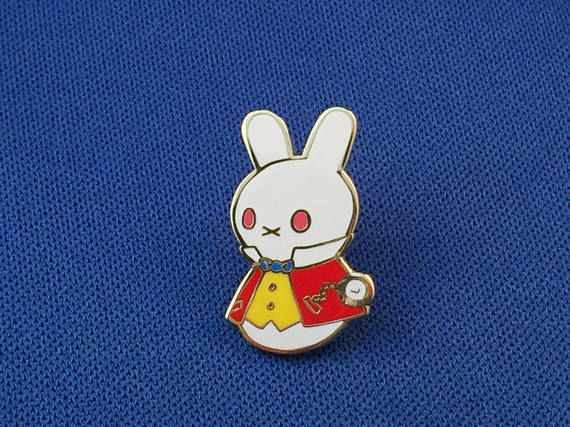 The White Rabbit Moon Bun Enamel Pin  Amigurumi Bunny Rabbit