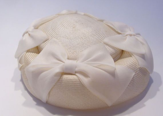 Helen Joyce Original White Vintage Hat with Organdy Bows Great