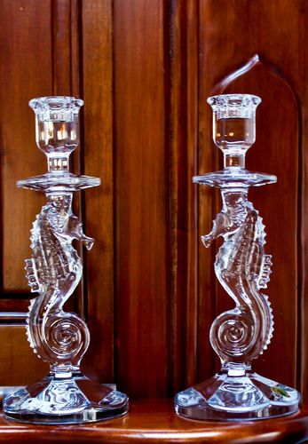 2 Waterford Crystal Seahorse Candlestick Pair. GORGEOUS!!!