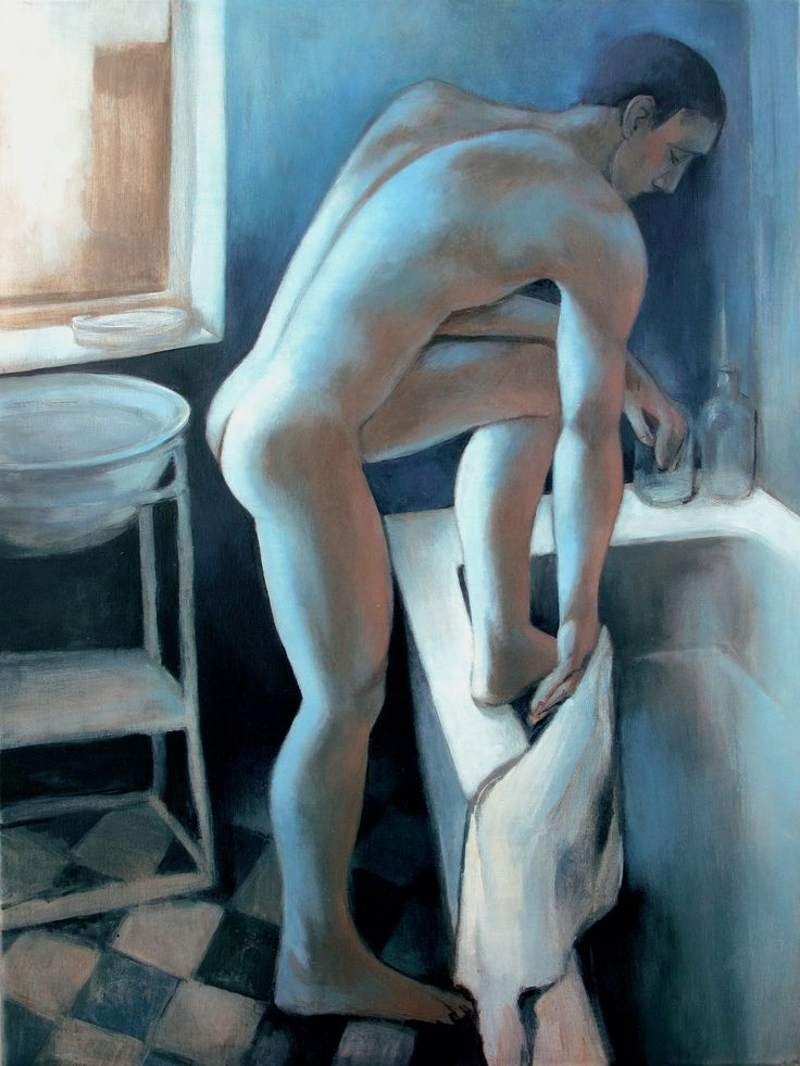 male nude in the bathroom, 60x80cm
