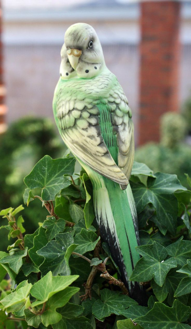 Vintage Porcelain Bisque Green Parakeet Ceramic Clip