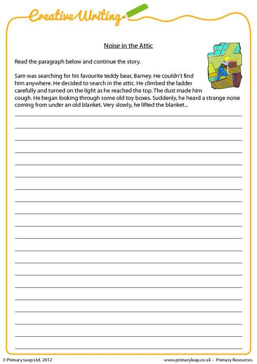PrimaryLeap.co.uk - Creative writing - Noise in the Attic Worksheet