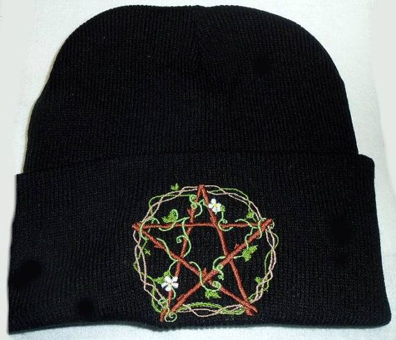 Beanie Hat,Vines,Flowers,Pentgram, Wiccan Clothing,Pagan Clothing,