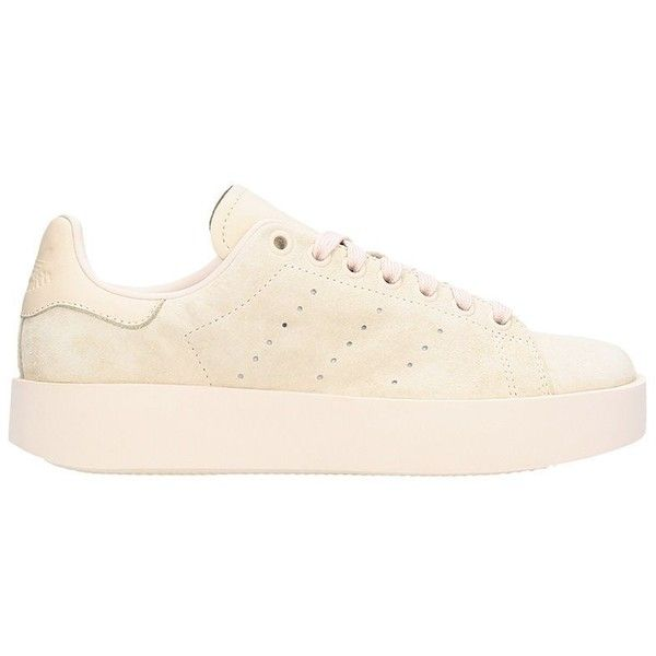 Stan Smith Bold Sneakers (€89) ❤ liked on Polyvore featuring shoes, sneakers, beige, adidas trainers, rubber sole sneakers, adidas footwear, suede leather shoes and adidas shoes
