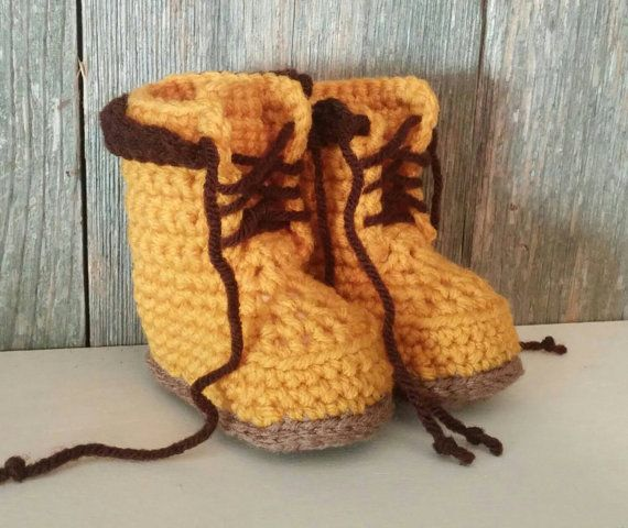 Timberland Boots  Crocheted Baby Timberland Boots  by MamaTCrafts