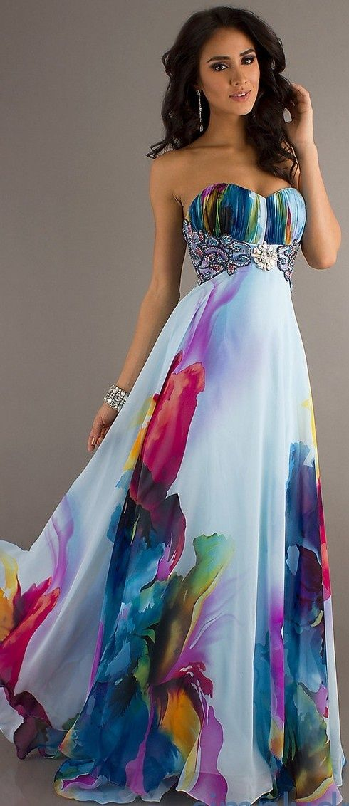 Strapless Print Prom Gown Dress