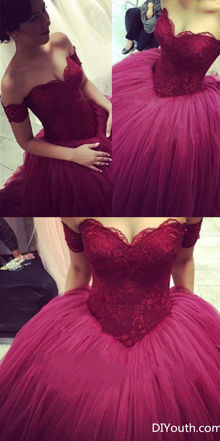 DIYouth.com Burgundy Prom Dresses,Wine Red Prom Dress,Sexy Prom Dress,Off The Shoulder Prom Dresses,2016 Formal Gown,TulleEvening Gowns,Ball Gown Party Dress,Lace Prom Gown For Teens,Burgundy Evening Ball Gowns Sweetheart Lace Appliques Puffy Skirt Floor Length Wine Red Saudi Arabia Prom Dresses Custom