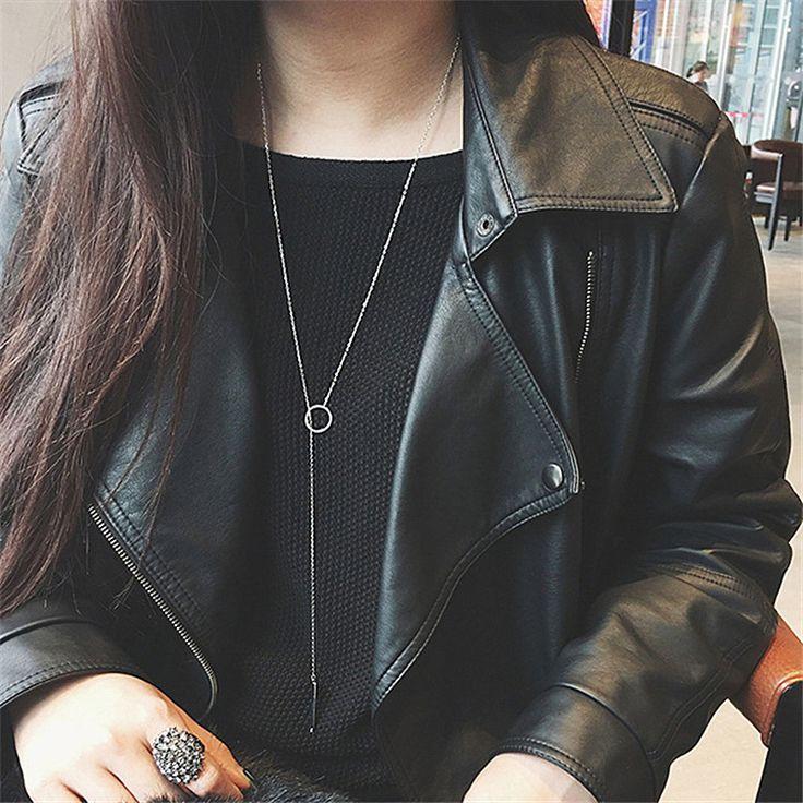 N162 Lange Sleutelbeen Vrouwen Ketting Cirkel Geometrische Hanger Colar Alledaagse Mode-sieraden Y Vorm Minimalistische Een Richting