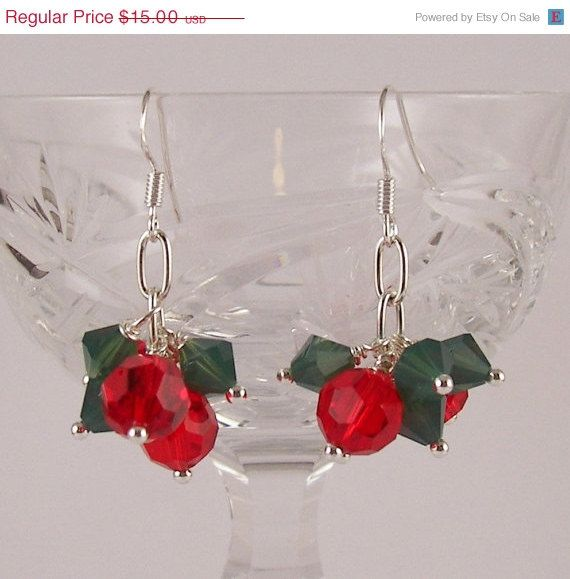 Holiday SALE Shake It Up Pom Swarovski crystal Christmas Holiday Earrings Gift Red and Green. $10.50, via Etsy.