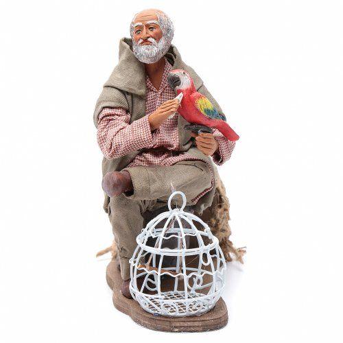 Hombre con loro jaula movimiento 24 cm belén napolitano | venta online en HOLYART