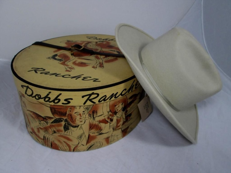 Pack your coat and pack your hat! Vintage Dobbs Hat Box With Felt Cowboy Hat