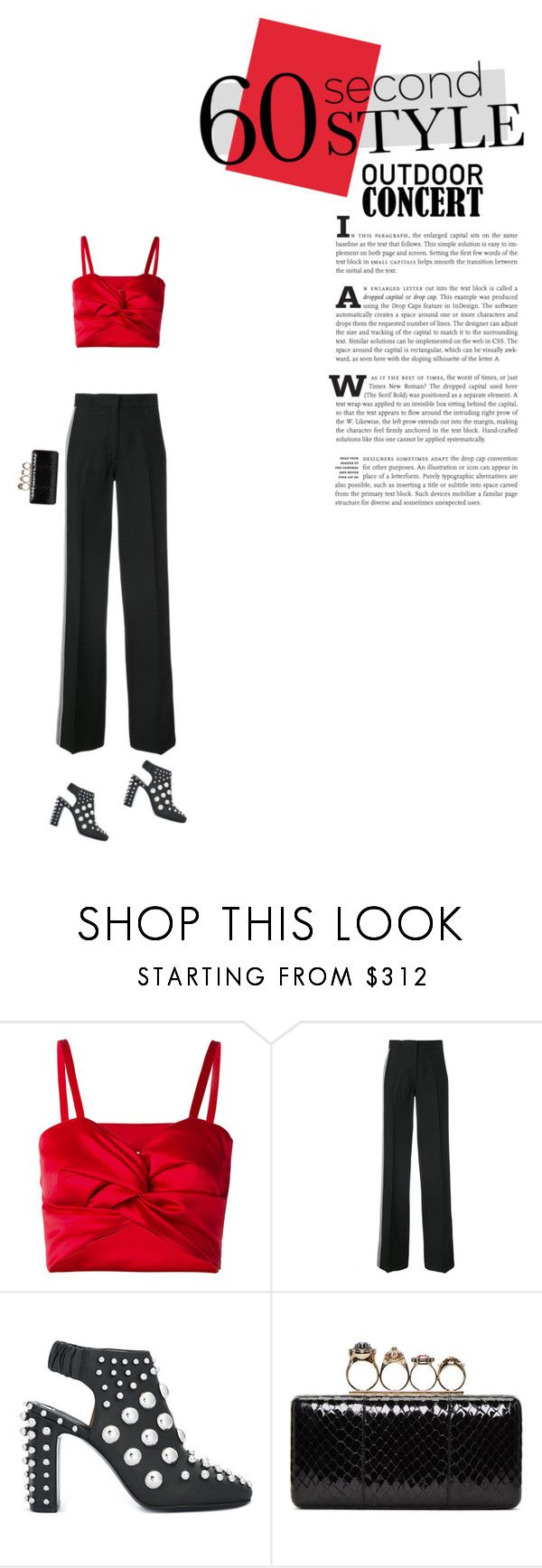 """""""Won't listen   Red And Black"""" by pannise ❤ liked on Polyvore featuring Sadie Williams, Derek Lam, Alexander Wang, Alexander McQueen, 60secondstyle, summerbooties and outdoorconcerts"""