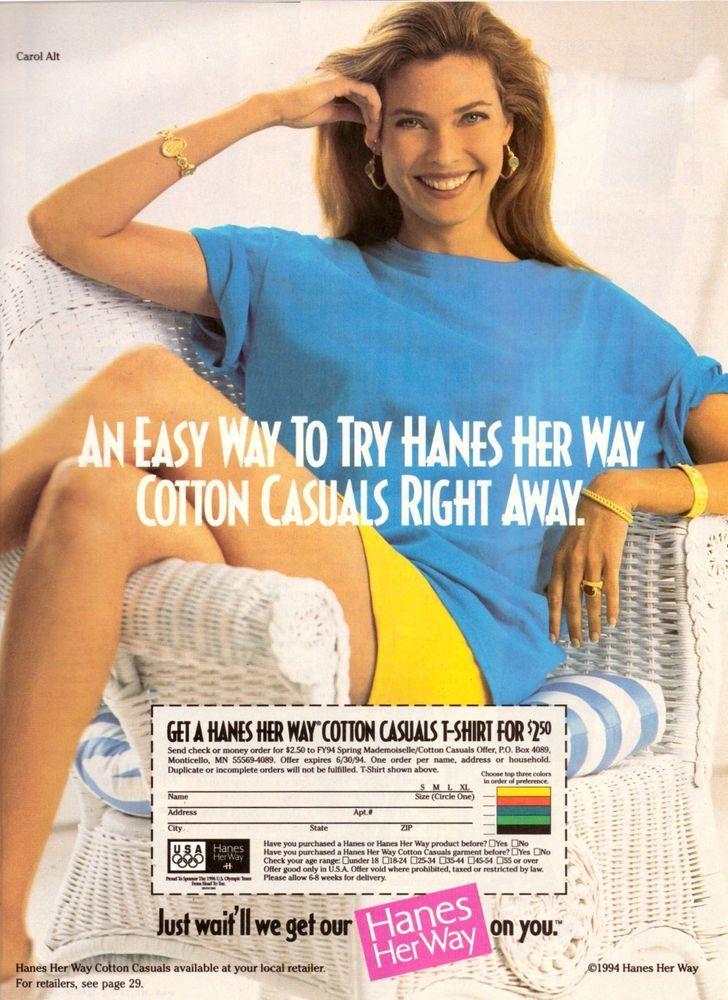 1994 Hanes Pantyhose Stockings Carol Alt Print Advertisment Ad Vintage VTG 90s   eBay