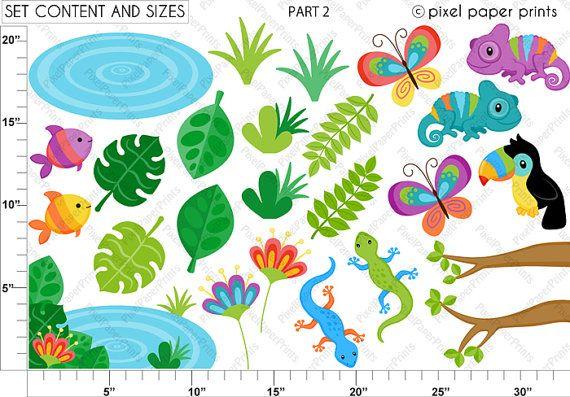 Rainforest clip art Clipart and Digital paper by pixelpaperprints
